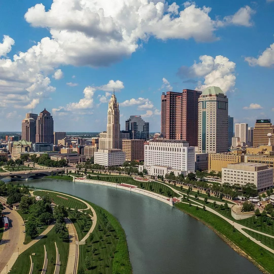 Columbus skyline from drone photo by Instagram user @sterlingdroneography