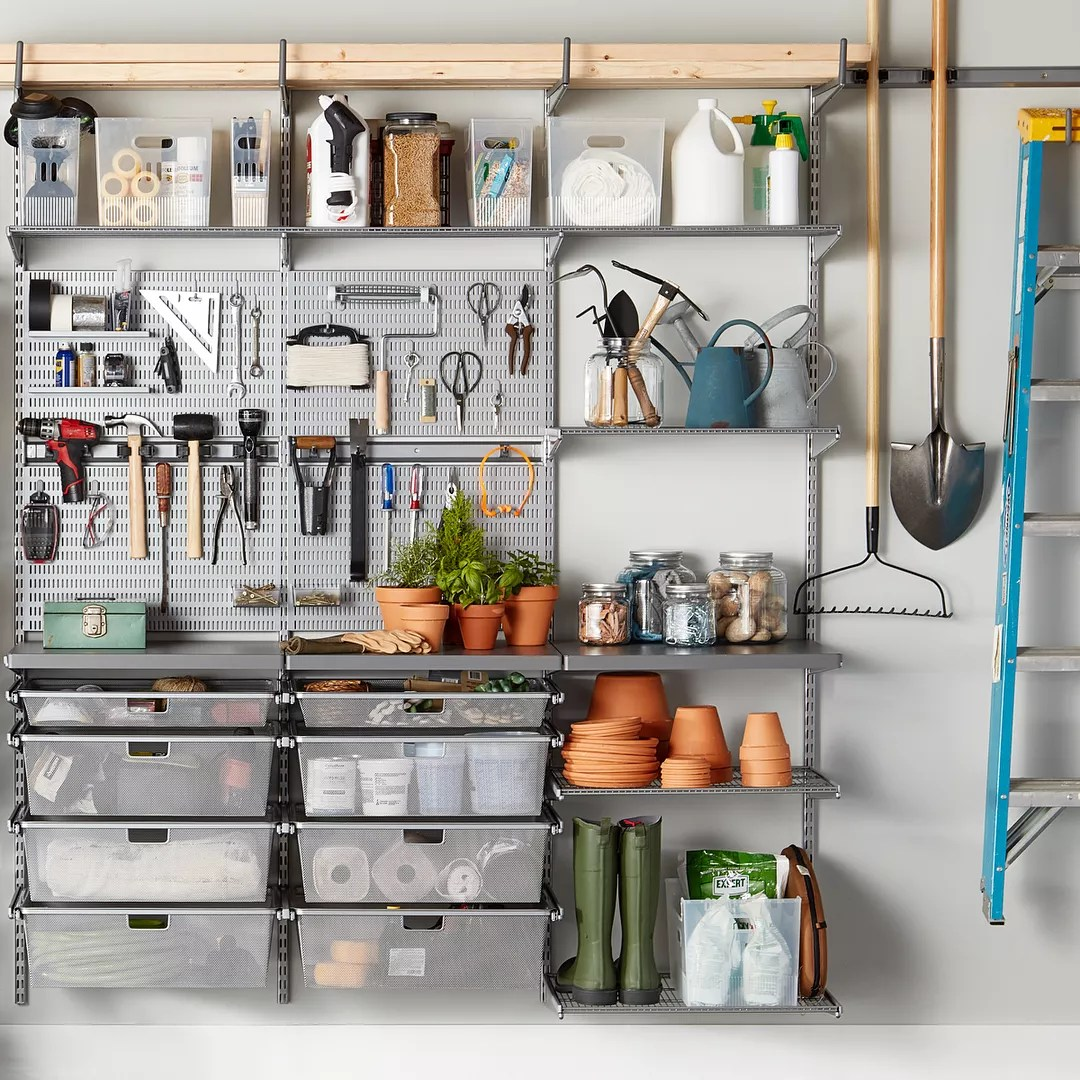 Organized garage workstation. Photo by Instagram user @thecontainerstore