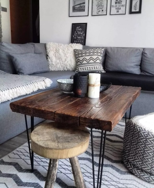 Wooden coffee table in living room. Photo by Instagram user @tanja_home
