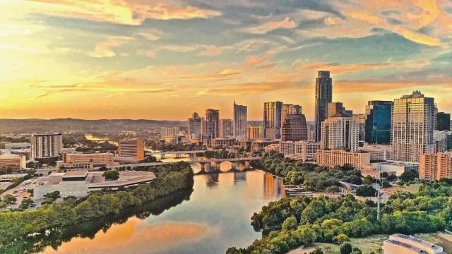Austin, Texas skyline at sunset. Photo by Instagram user @austinluxuryrentals