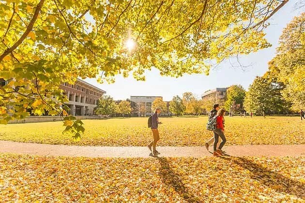 Students walking on Vanderbilt campus during the fall. Photo by Instagram user @vanderbiltu