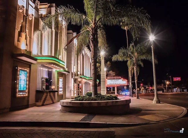 Movie theater in Downtown Fontana at night. Photo by Instagram user @mtg_photography