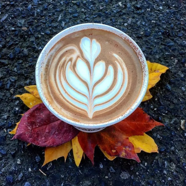 Hand Made Mocha with Art on Top. Photo by Instagram user @rivermaidencoffee