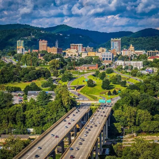 aerial photo of Asheville from the interstate photo by Instagram user @overasheville