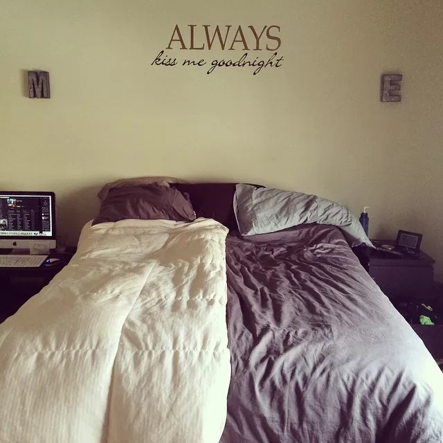 Bed with Different Comforters on Each Side. Photo by Instagram user @mollyeledge