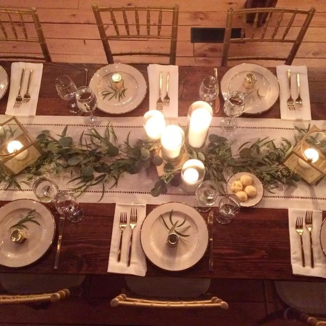 Candlelit Table Set for Fancy Rehearsal Dinner. Photo by Instagram user @breamcdonaldphotography