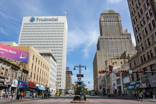 View of Downtown Newark Looking Up Broad St at the Prudential Building. Photo by Instagram user @newarknjblog