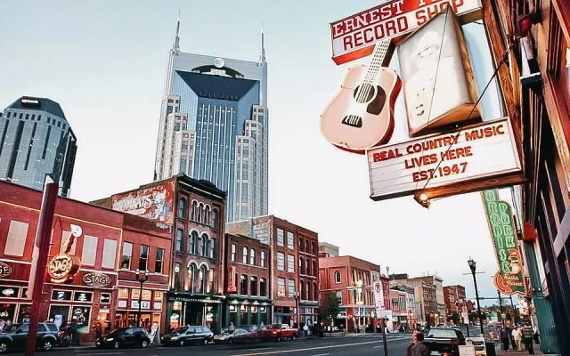 Street shot of businesses lined along Music Row in Nashville, TN. Photo from Instagram user @thesamanthakelly.