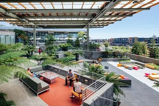 Outdoor patio with plants at the Facebook Headquarters. Photo by Instagram user @arquitecturaviva_