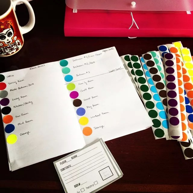 Colorful stickers for labeling system. Photo by Instagram user @findingmagickieper