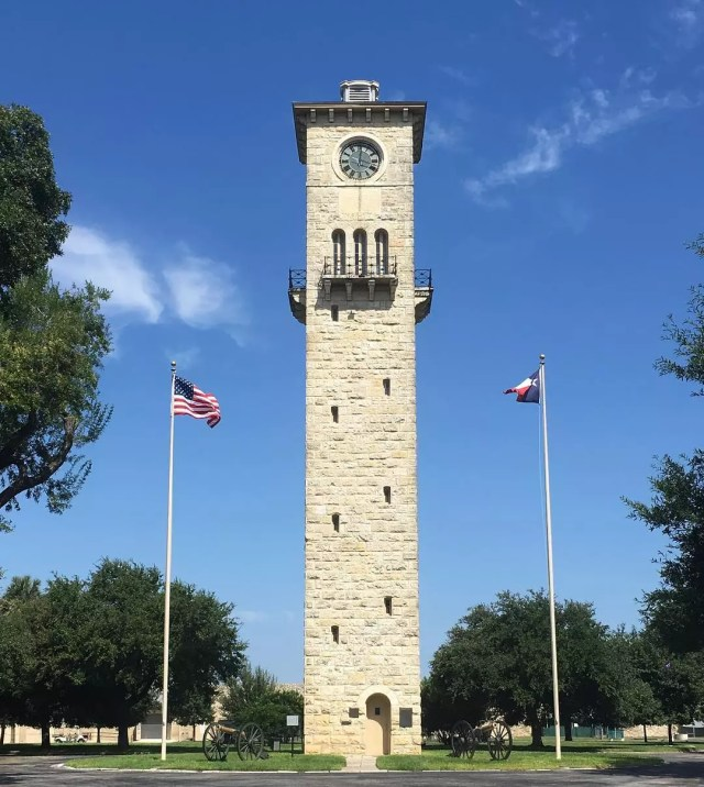 Large tower on a sunny day at Fort Sam Houston Army Base. Photo by Instagram user @_dkerr