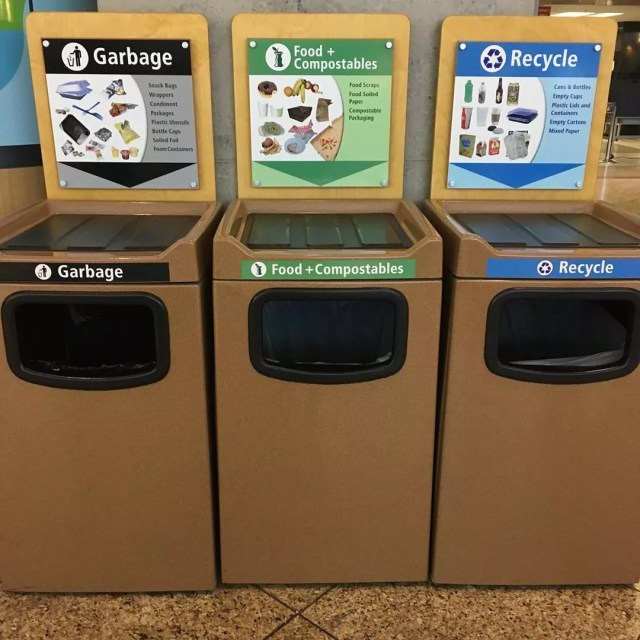 Recycling bins in the Seattle airport. Photo by Instagram user @suemartin50