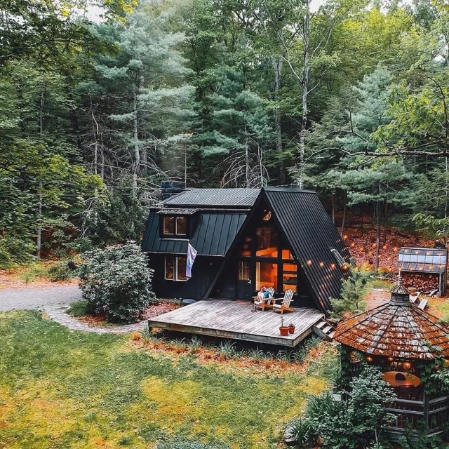 A-frame cabin in Kerhonkson, NY. Photo by Instagram user @dirtandglass