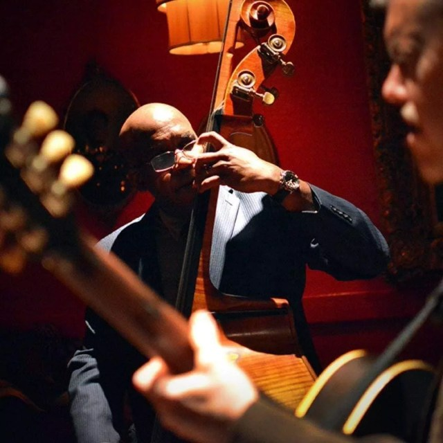 Guy playing the bass in a lounge. Photo by Instagram user @greenladylounge