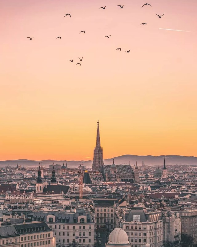 Skyline of Vienna and a church at sunset. Photo by Instagram user @v.for.vertigo