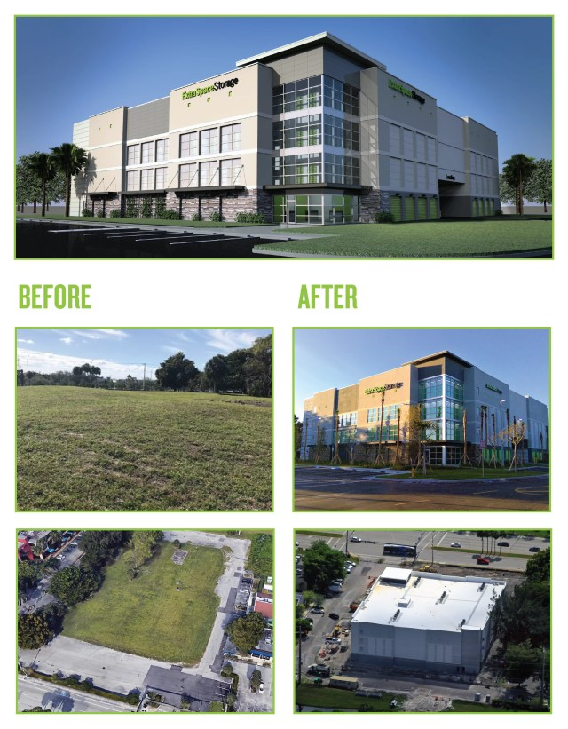 Before and after photos of Extra Space Storage development in Plantation, FL