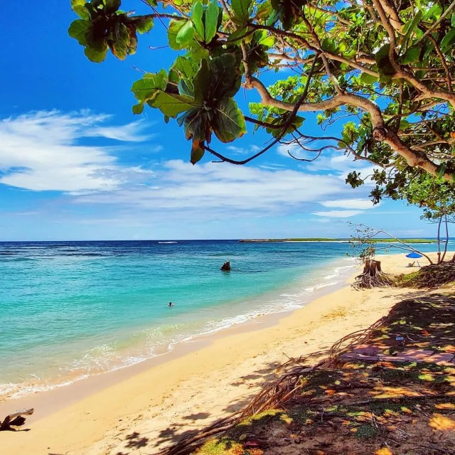Bright blue water and sandy beach on Kahuku Beach. Photo by Instagram user @drifter_dude