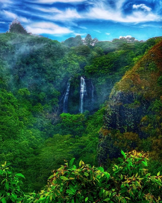 Waterfall inside a rainforest in Kapa'a. Photo by Instagram user@worldfrommycamera_ra
