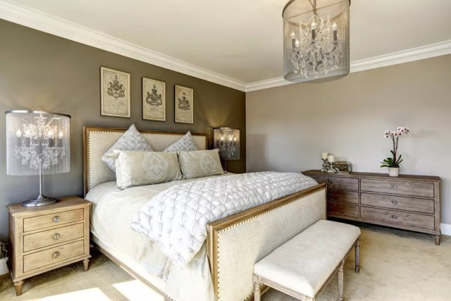 Bedroom with vintage and contemporary decor mixed