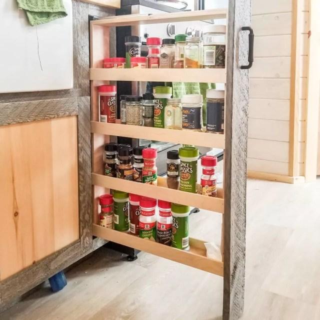 Spices in hidden pullout rack. Photo by Instagram user @heatherdhansen