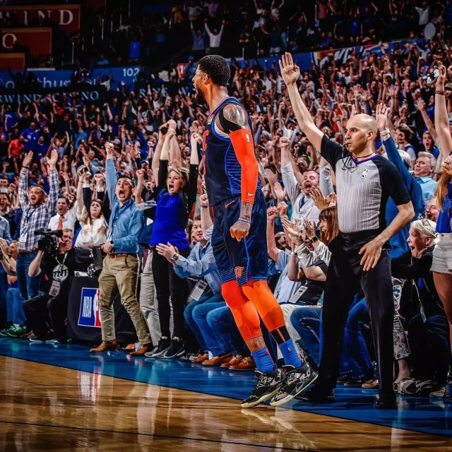 Basketball player from OKC Thunder jumping. Photo by Instagram user @okcthunder