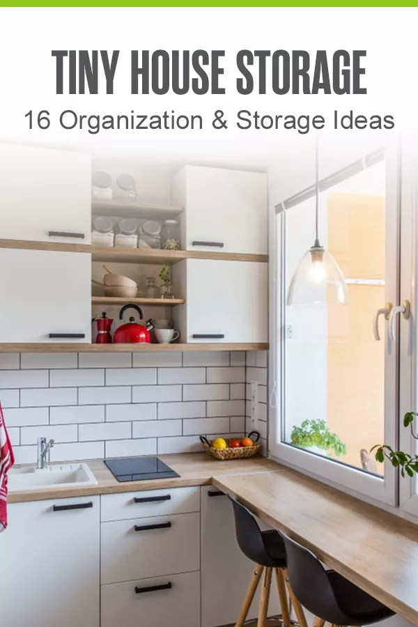 Pinterest Graphic: Tiny House Storage: 16 Organization & Storage Ideas