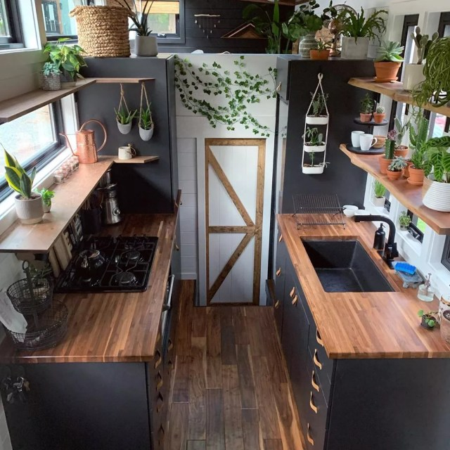 Tiny home kitchen with black walls and plant decor. Photo by Instagram user @thatgrackle