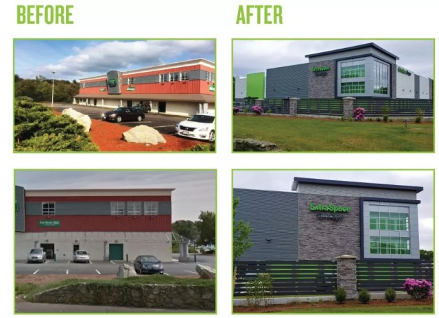 Before and after photos of Extra Space Storage Weymouth self storage facility upgrade