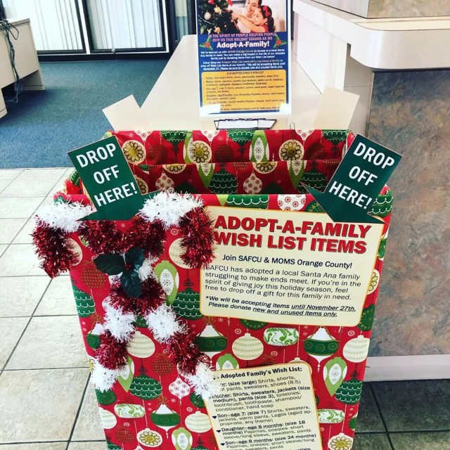 Holiday box for family adoption. Photo by Instagram user @santaanafcu