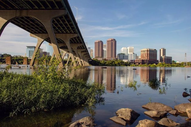 Richmond, VA skyline from the James River. Photo by Instagram user @harrisonkmirephoto
