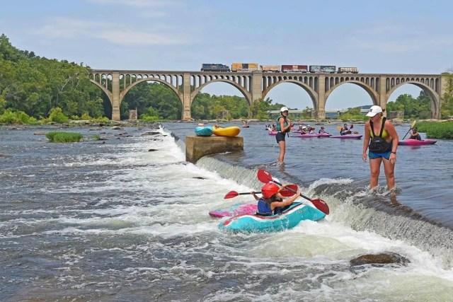 Kayakers on James River in Richmond, VA. Photo by Instagram user @jamesriverpark