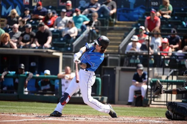 Baseball player on Tacoma Rainiers swinging bat. Photo by Instagram user @tacomarainiers