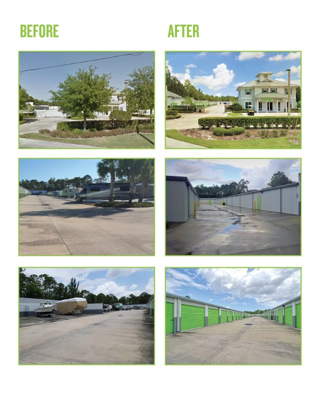 Before and after photos of Extra Space Storage facility expansion in Stuart, FL