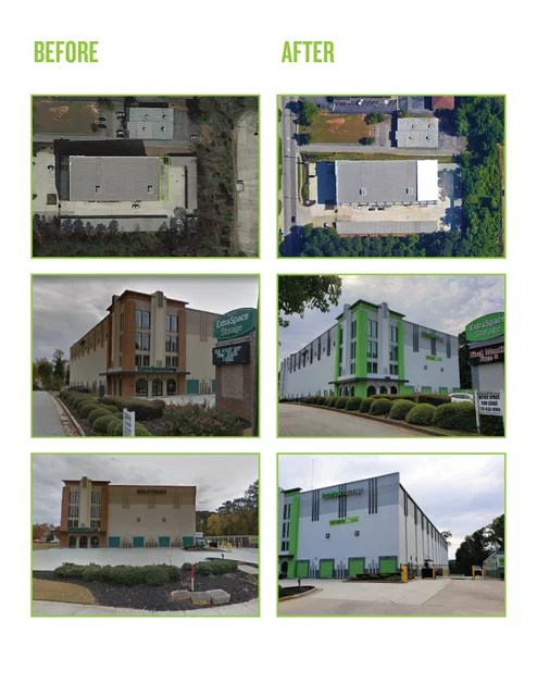 Before and after photos from Tucker, GA self storage project by Extra Space Storage