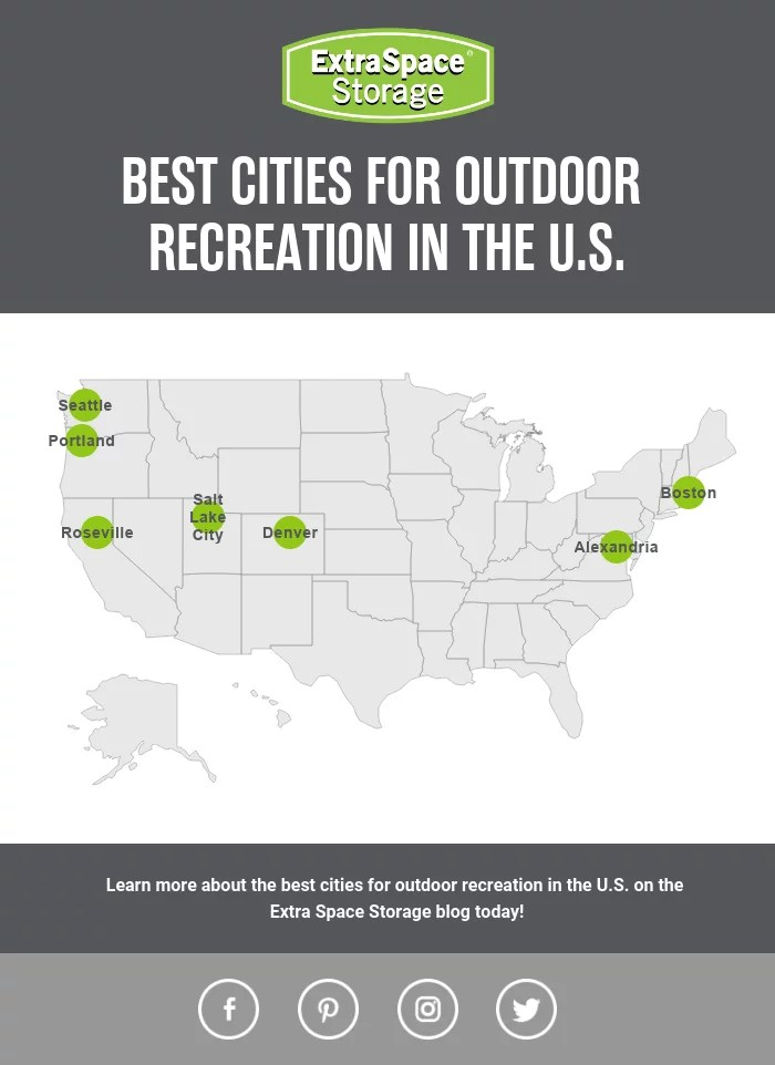 Map of Best Cities for Outdoor Recreation in America: Extra Space Storage
