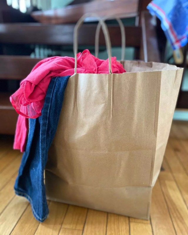 Brown bag of clothes. Photo by Instagram user @cahoots_company