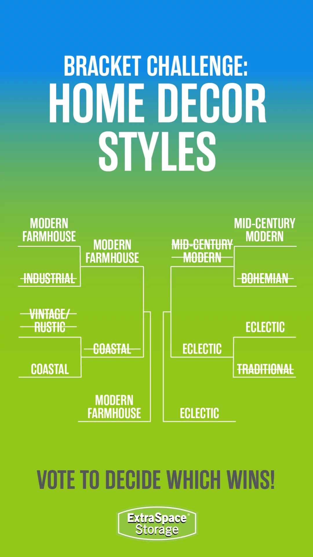 Extra Space Storage Bracket Challenge Infographic: Home Decor Styles