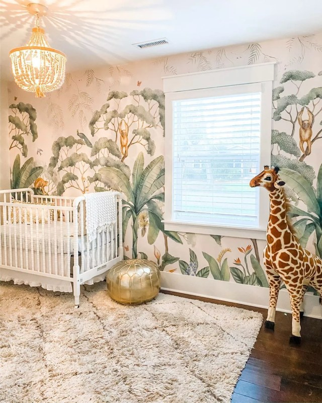 Jungle theme baby room. Photo by Instagram user @erin.phillips