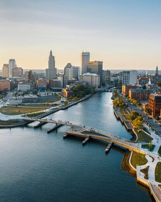 Providence RI from a drone skyline with Providence River in view photo by Instagram user @hankvzn