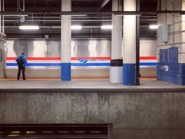 amtrak train at blue line station in Providence photo by Instagram user @lindsaybach