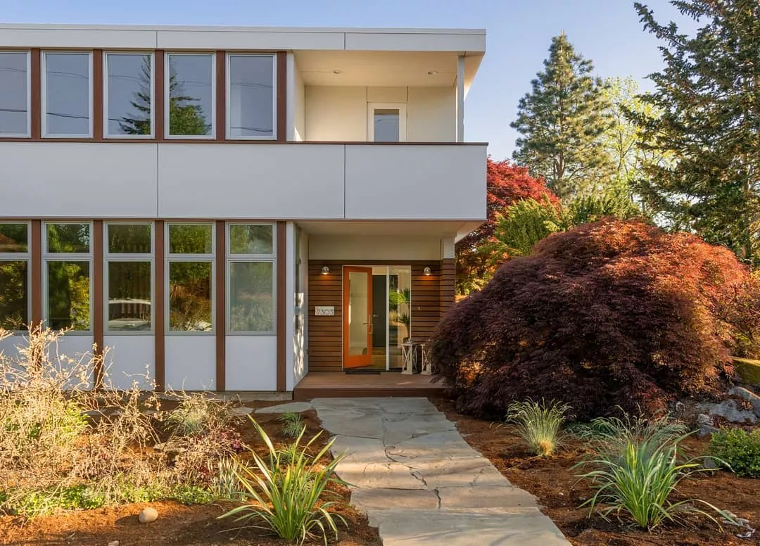 modern home with nice stone path to front door in Ravenna, Seattle, WA photo by Instagram user @d3architects