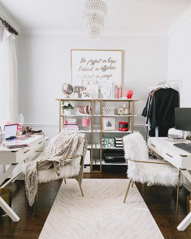 shared home office space with two desks and chairs photo by Instagram user @uptownwithellybrown