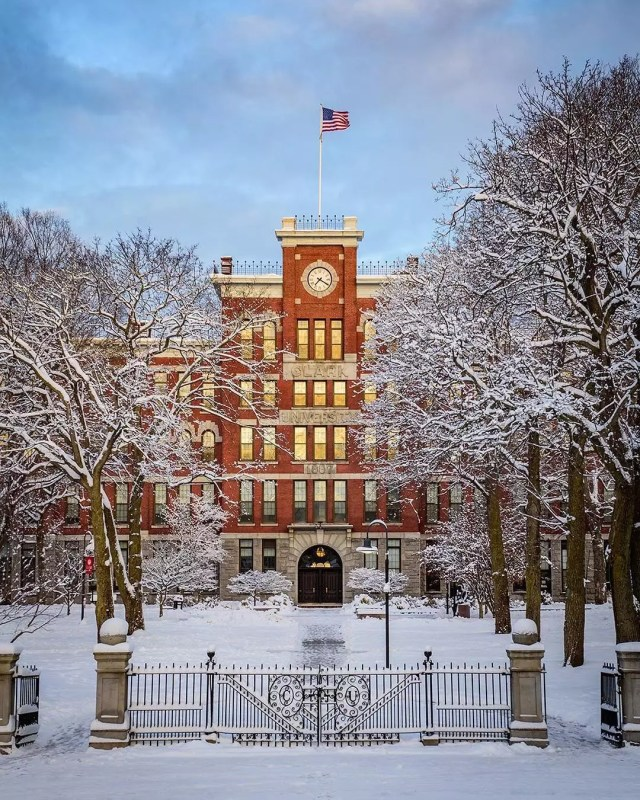 winter photo of Clark University in Worcester, MA with snow on the ground photo by Instagram user @clarkuniversity