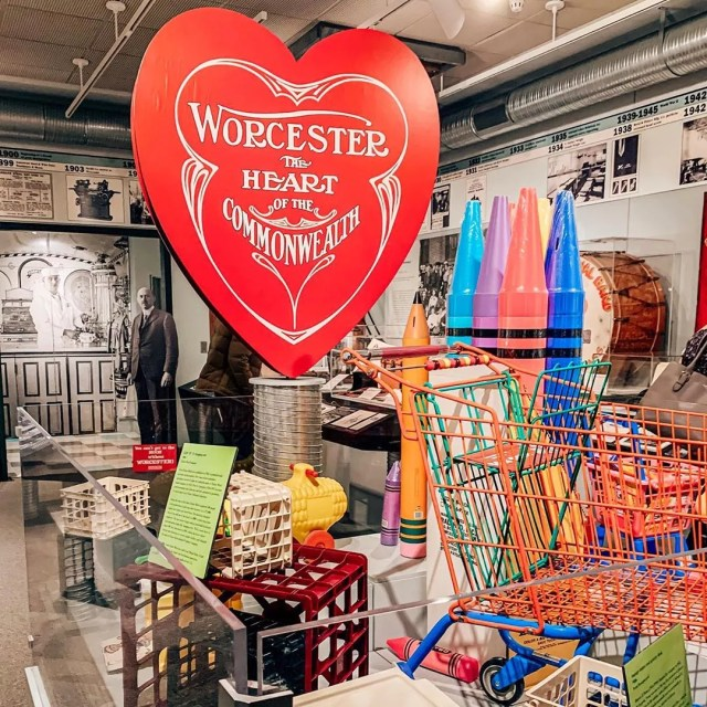 exhibition on the invention of Valentines at Worcester Historical Museum photo by Instagram user @newinthewoo