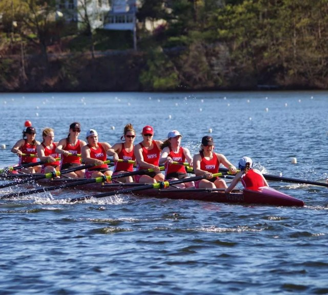 WPI women's rowing team on the water photo by Instagram user @liljess5