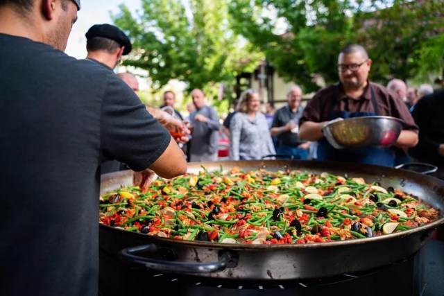 pan of paella being made on the street photo by Instagram user @thebasquemarket