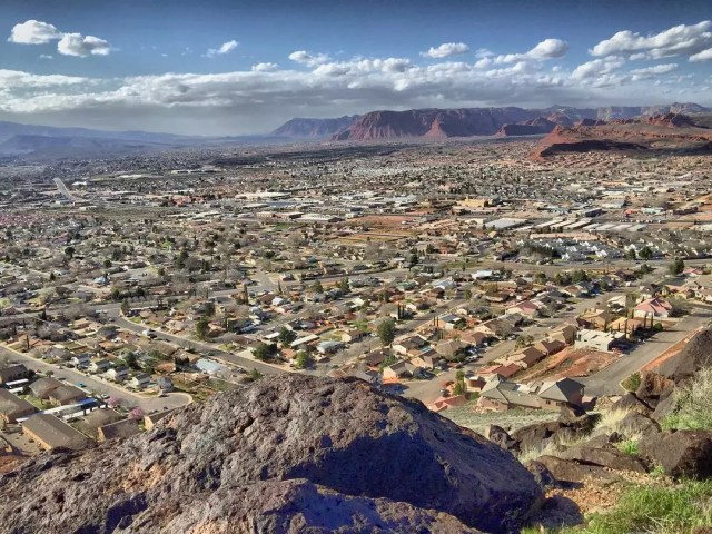 View of Downtown St. George, UT from the Mountain. Photo by Instagram user @stgeorgeut