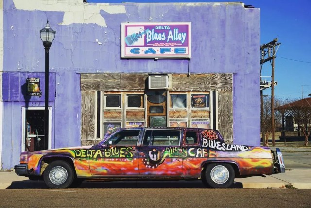 Painted Car Outside of Blues Alley in Clarksdale, MS. Photo by Instagram user @visitms