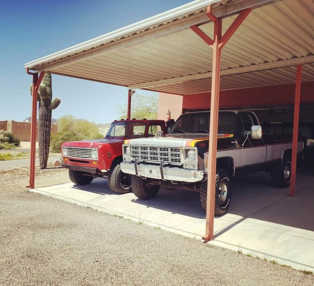 Classic Chevy 4x4 Trucks Parked Under a Carport. Photo by Instagram user @classicridesaz