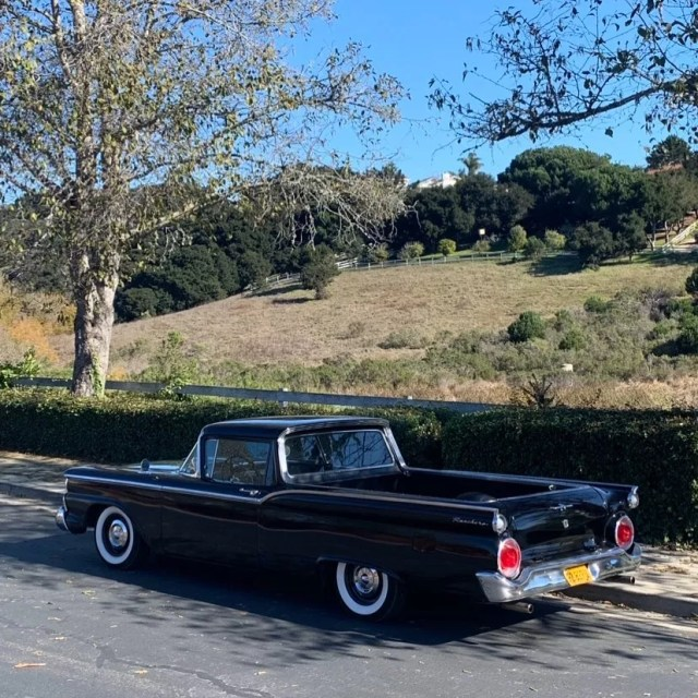 1959 Black Ford Ranchero Parked on the Street. Photo by Instagram user @thompsonscycles